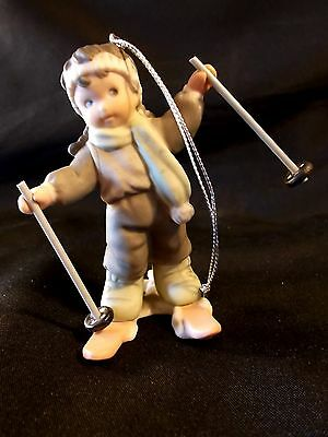 PRETTY AS A PICTURE Enesco Porcelain Christmas Tree Ornament BOY SKIING w/ Box