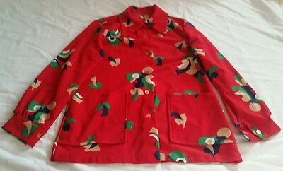 Womens Vintage Red Long Sleeve Blouse With Retro Geographic Paterns XS S