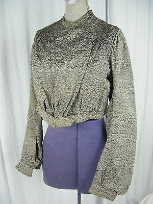 Antique Victorian Grey/Black Woven Long Sleeve Bodice -Bust 37/ XS-S