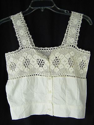 Antique Victorian Ivory Crochet Lace Camisole-Bust 29/2XS