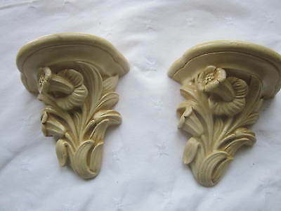 Art deco design wall sconces. Flower daffodil design. Chalkware.
