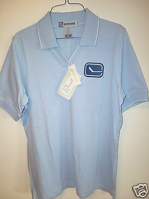 *New* Nice Extreme LADIES Vancouver CANUCKS Powder Blue Shirt Size M 100% Cotton