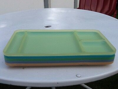 Vintage Tupperware Divided Trays Picnic Lunch Set Of 5 Pastel