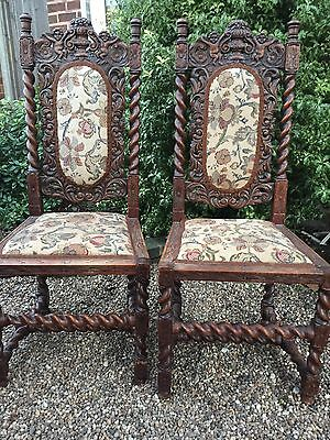 Antique Oak Carved Chairs