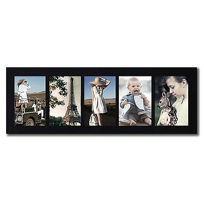 """Adeco 5-Opening 4x6"""" Black Wood Wall Hanging Collage Picture Photo Frames"""
