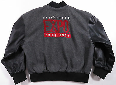 Vtg The X-Files 1998 Expo Convention Leather Wool Varsity Jacket Mulder Scully L
