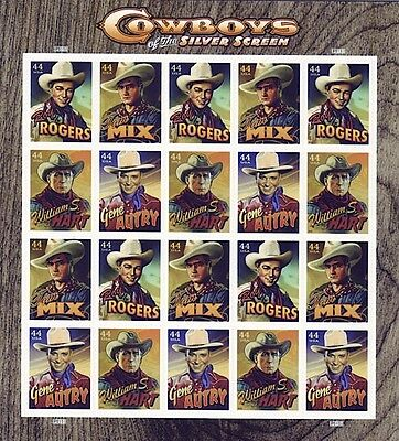 Us Stamp Sheet (2009) #4446-49 Cowboys Of The Silver Screen 20 X 44 Cents Mnh