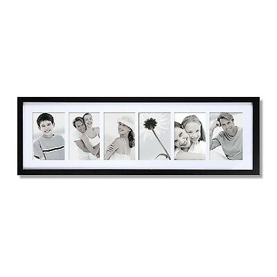 """Adeco 6-Opening 4x6"""" Decorative Black Wood Wall Collage Picture Frames"""