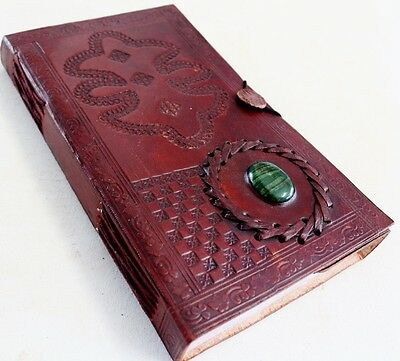 Handmade Leather Embossed Stone Travel Journal Diary Notebook Great Gift