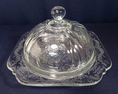 Vintage Hazel Atlas ? Depression Clear Glass Round Dome Covered Butter Dish