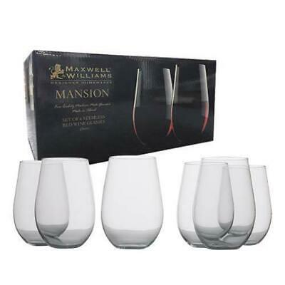 Maxwell & Williams Mansion Stemless Red Wine, 580mL Glass, 6 Pc Set, Gift Box