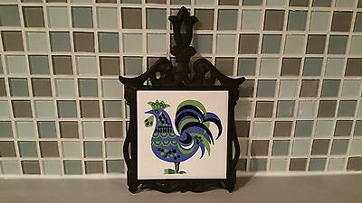 Vintage Black Cast Iron & Porcelain Tile Trivet w/Folk Art Rooster Japan Cherry