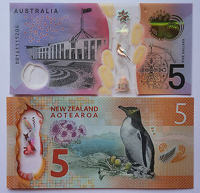AUSTRALIA & NEW ZEALAND - $5 UNC banknotes LATEST ISSUEs of both ~ 2015 / 2016