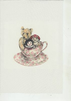 SILK PRINT KIT - 'Teddies in Cup'  -  (for FRAMING or making a CUSHION)