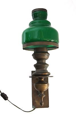 Man Cave Brass Wall Sconce with Green Glass Lamp Shade
