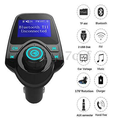 In-Car Bluetooth FM Transmitter Radio Music MP3 Player USB Charger AUX Handsfree