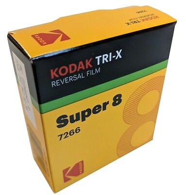 Kodak Super 8mm Movie Film Tri-X 7266 B&W rvrsl CAT#1889575  *NEW FACTORY FRESH*