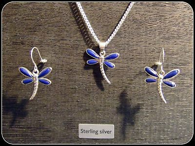 """Lapis Gemstone Dragonfly Necklace & Earring Set in .925 silver 22"""" silver chain"""