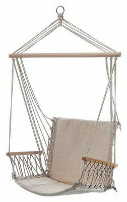Swing Hammock Chair Natural Cream Wooden Arm Rests Patio Deck Beach House Pool
