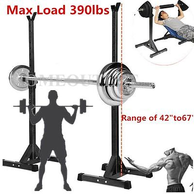 2 X Heavy Duty Adjustable Gym Squat Barbell Power Rack Stand Press Weight Bench