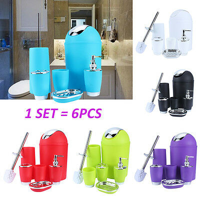 6Pcs Bathroom Accessory Set Tumbler Toothbrush Holder Soap Dispenser 7 Colors UK