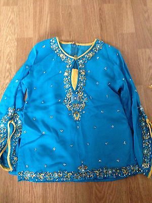 Blue and yellow Kids Asian outfit