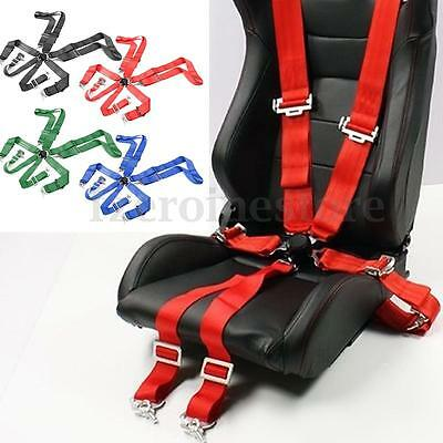 """Sport Racing Harness Seatbelt 3"""" 4/5/6 Point Fixing Quick Release Black Red Blue"""