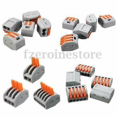 Reusable Spring Lever Terminal Block Electric Cable Wire Connector 2/3/5 Way New