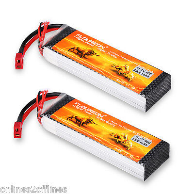 2X 3S 11.1V 3300mAh 40C LiPo Battery Deans Plug for RC Helicopter Airplane Drone
