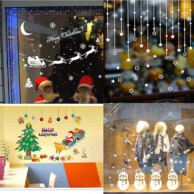 Christmas Decoration Vinyl Decal Wall Window Stickers Santa Claus Home Decor NEW