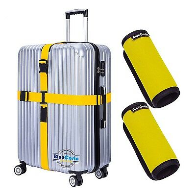 CSTOM (Yellow) 1x Cross Suitcase Strap Travel Belt + 2x Neoprene Luggage Hand...