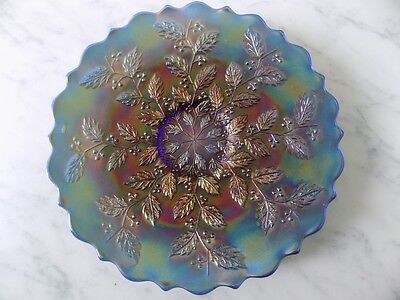 "Fenton blue carnival glass plate 9.5"" #2"