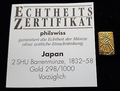 Mds Japan 2 Shu Barrenmünze 1832-58, Gold  #49