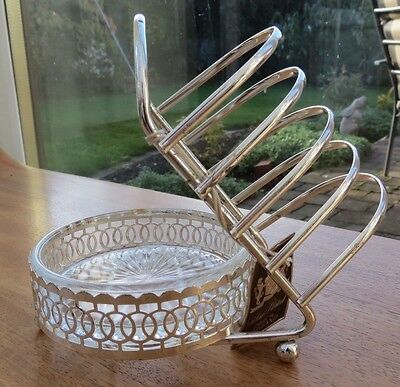 Vintage Silver Plated Toast Rack and Preserve Dish