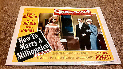 How to Marry a Millionaire 11 X 14 Lobby Card LC  Marilyn Monroe Lauren Bacall