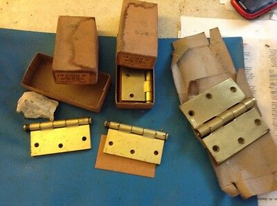 """vintage brass plated Door Butt Hinges 3 x 3"""" and 3 1/2 by 3 1/2"""