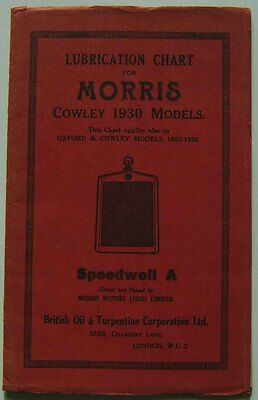 Morris Cowley1930 Oxford & Cowley 1927-29 original Speedwell A Lubrication Chart