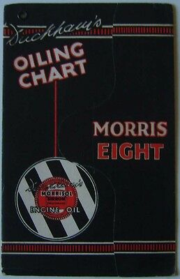 Morris Eight 8 original Duckhams Oiling Chart for every 250 500 & 1000 miles