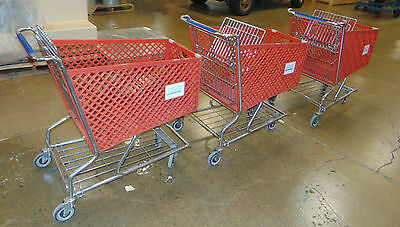 Used Shopping / Grocery Carts, steel frame with red plastic basket