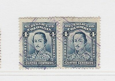 A2P58 COLOMBIA 1926-29 4c PAIR USED