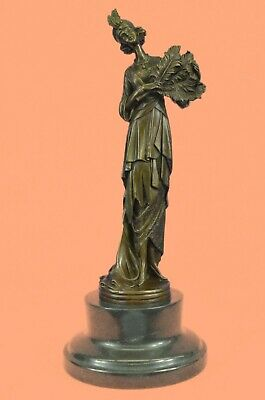 Antique Style Deco Bronze Patina Spelter Figure of a Woman Sclupture Figurine
