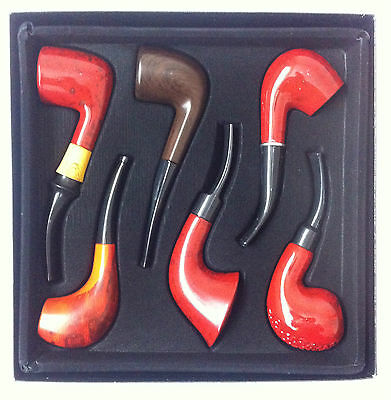 6 X Durable Wooden Smoking Deluxe Pipe Set Tobacco Cigar Pipe Boxed New Gift