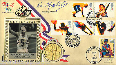 1996 Olympics - Benham Gold Medal Official - Signed by KEN MATTHEWS