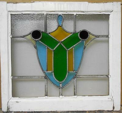 "OLD ENGLISH LEADED STAINED GLASS WINDOW Awesome Shield 20.75"" x 18.75"""