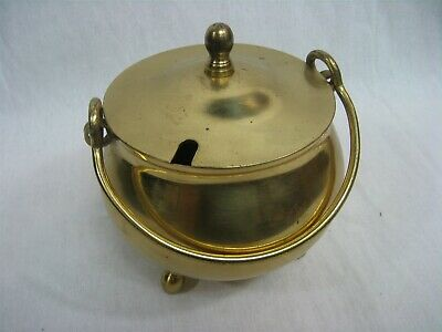 Vintage Solid Brass Pot with Lid and Handle Three Footed