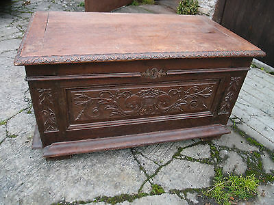 Antique Solid Carved Oak Hall Seat Boot Locker Blanket Box Coffer