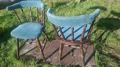 An Unusual Pair of Upholstered  Wheel / Stick Back Chairs!!