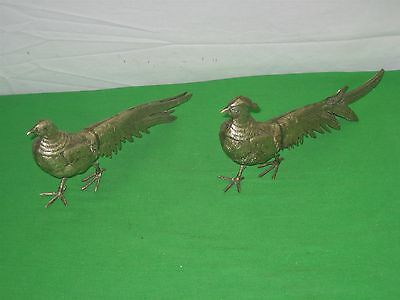 Vintage Pair of Two (2) Brass Peacocks
