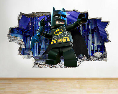 I006 Lego Batman Movie Kids Boys Smashed Wall Decal 3D Art Stickers Vinyl Room