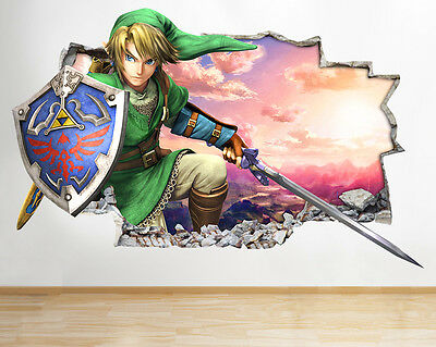 H164 Legend of Zelda Smashed Gaming Wall Decal Poster 3D Art Stickers Vinyl Room